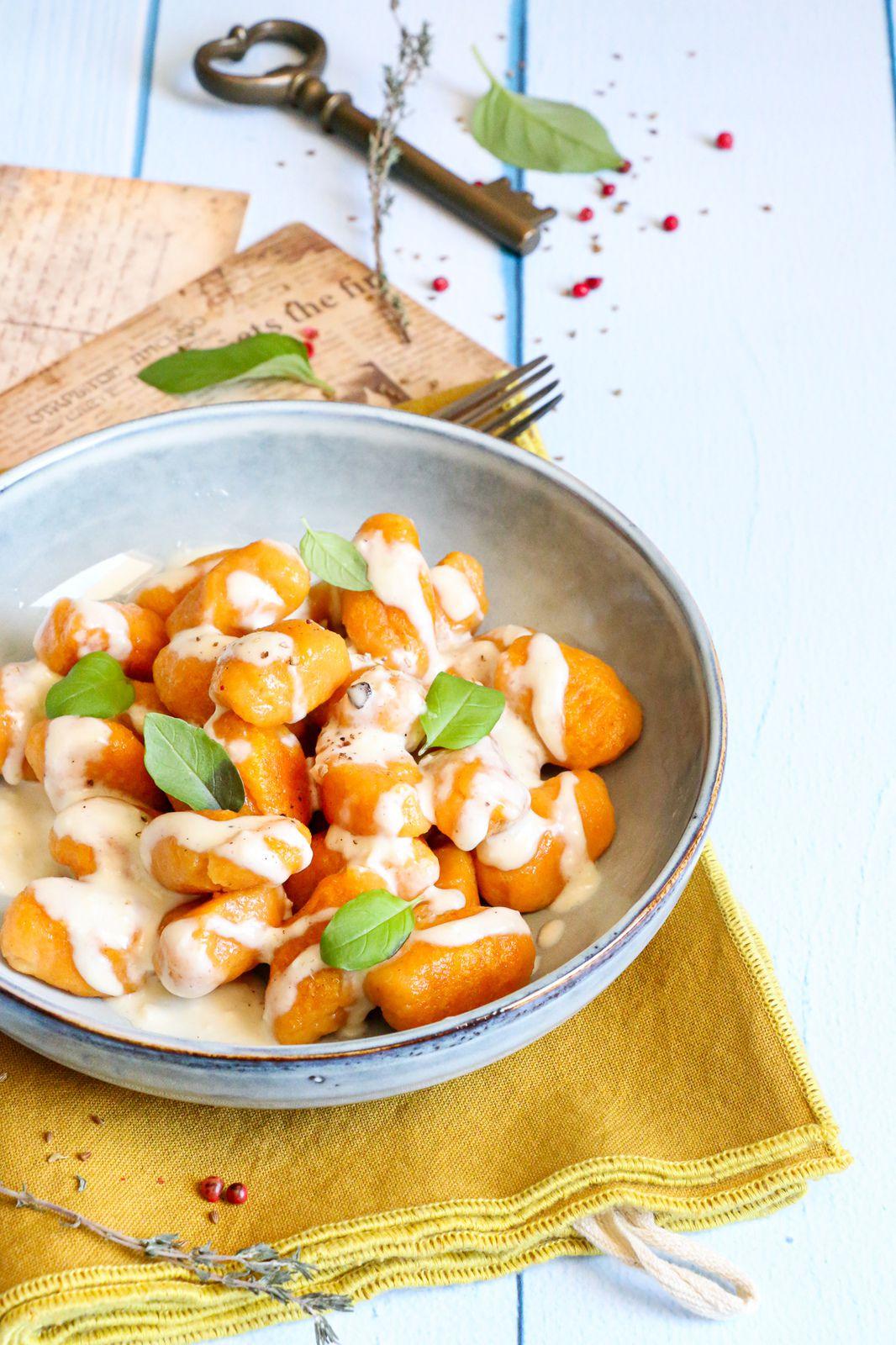 Gnocchis de carottes sauce au chèvre