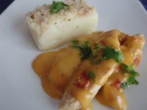 Aiguillettes de poulet à l'orange et son écrasée de pommes de terre