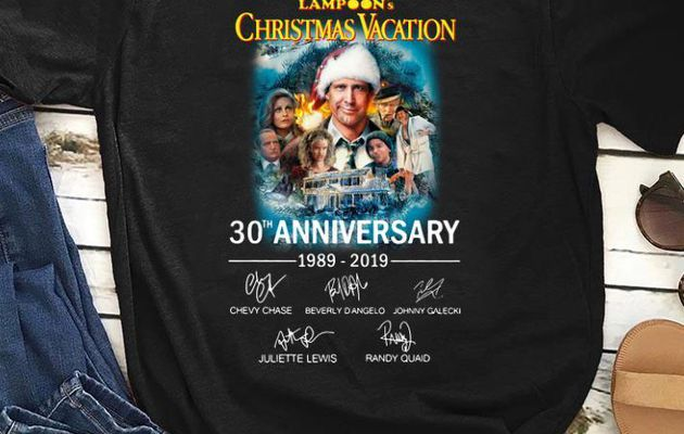 Official 30th Anniversary Signatures National Lampoon's Christmas Vacation shirt