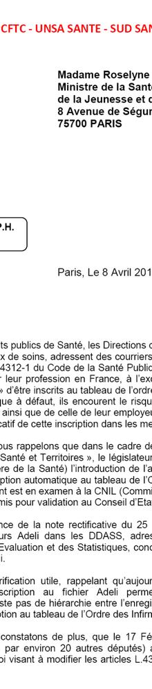 courrier de l'intersyndicale à Bachelot