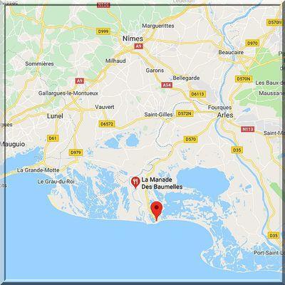 Bouches du Rhône - Saintes Maries de la Mer - Position église sur carte