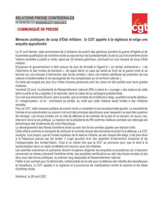 Réponse de la CGT suite à l'appel à la sédition par plusieurs généraux à la retraite