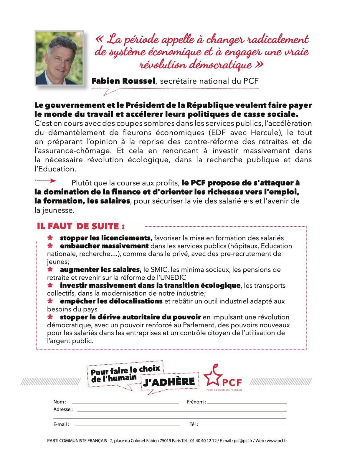 Le 4 février 2021 - Manifestons avec les syndicats: de l'argent pour les salaires, pas pour les actionnaires (PCF)