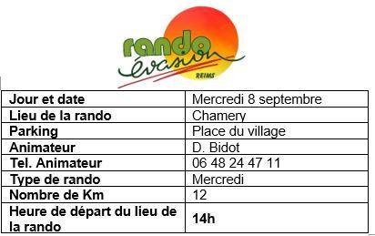 Rando septembre/ programme du 6 au 12