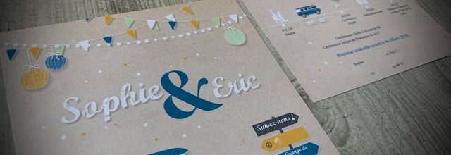 Le faire part de mariage vintage de Sophie & Eric ... combi VW, peace and lovecréa