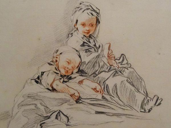 François BOUCHER - Vers 1734 : Deux petits mendiants - Deux jeunes paysannes ; vers 1737 : Jeune fille assise tenant un éventail