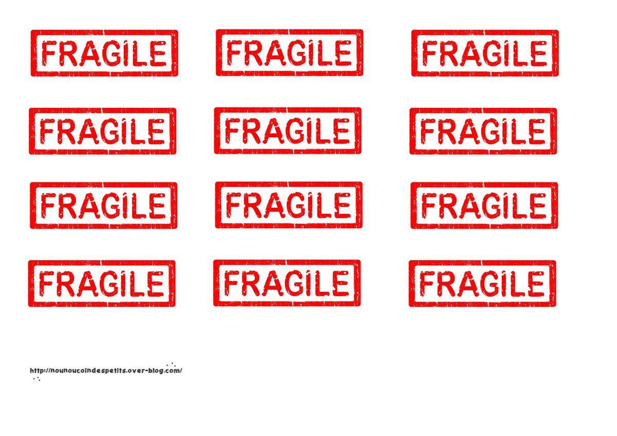""".. étiquette """" FRAGILE """" a imprimer .."""