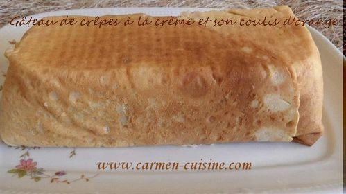 Gâteau de crêpes crème à l'orange au Grand Marnier