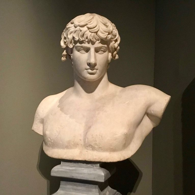 Portrait bust of Antinoos. Thasian marble. Found at Patras. AD 130-138.