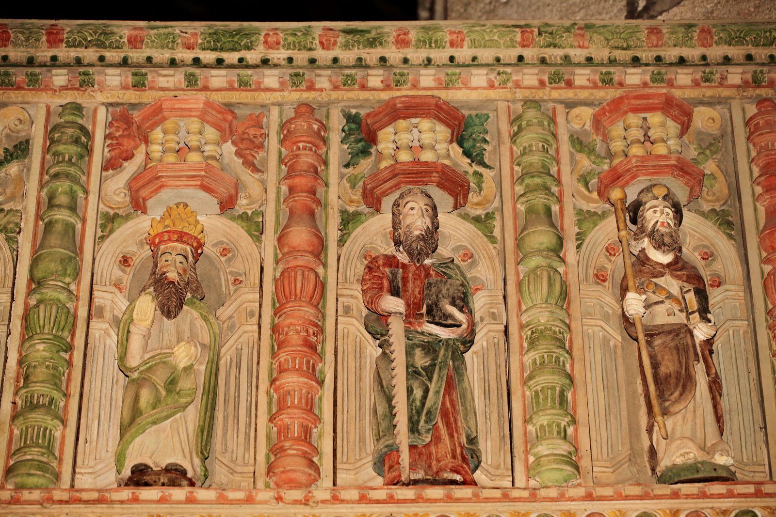 Tribune du jubé (chêne polychrome, v. 1560) de l'église de La Roche-Maurice. Photographie lavieb-aile 2017 et 2020.