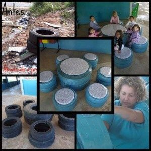recycled tires - seating for six