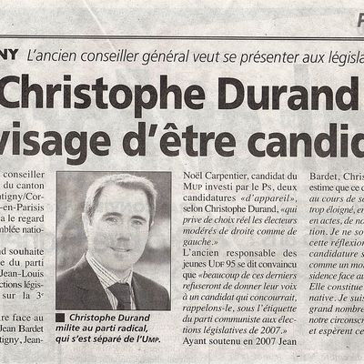 La Gazette : Christophe Durand envisage d'être candidat.