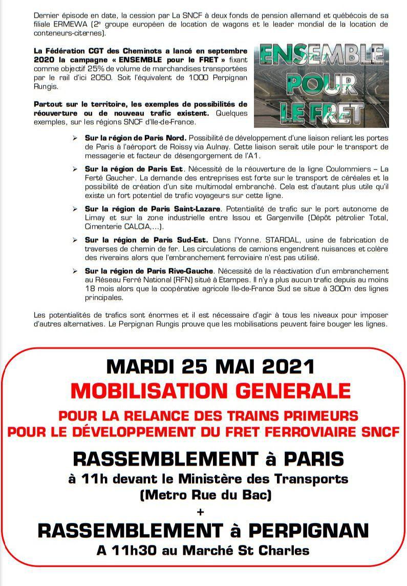 Ce mardi 25 mai 2021, mobilisation de la CGT-cheminots à la SNCF