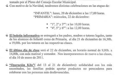 Nota Informativa-5/DIC10.-Actividades Diciembre2010.