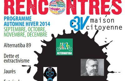 Nouveau programme C3V Maison citoyenne - Automne/hiver 2014 - sept /oct /nov /déc.