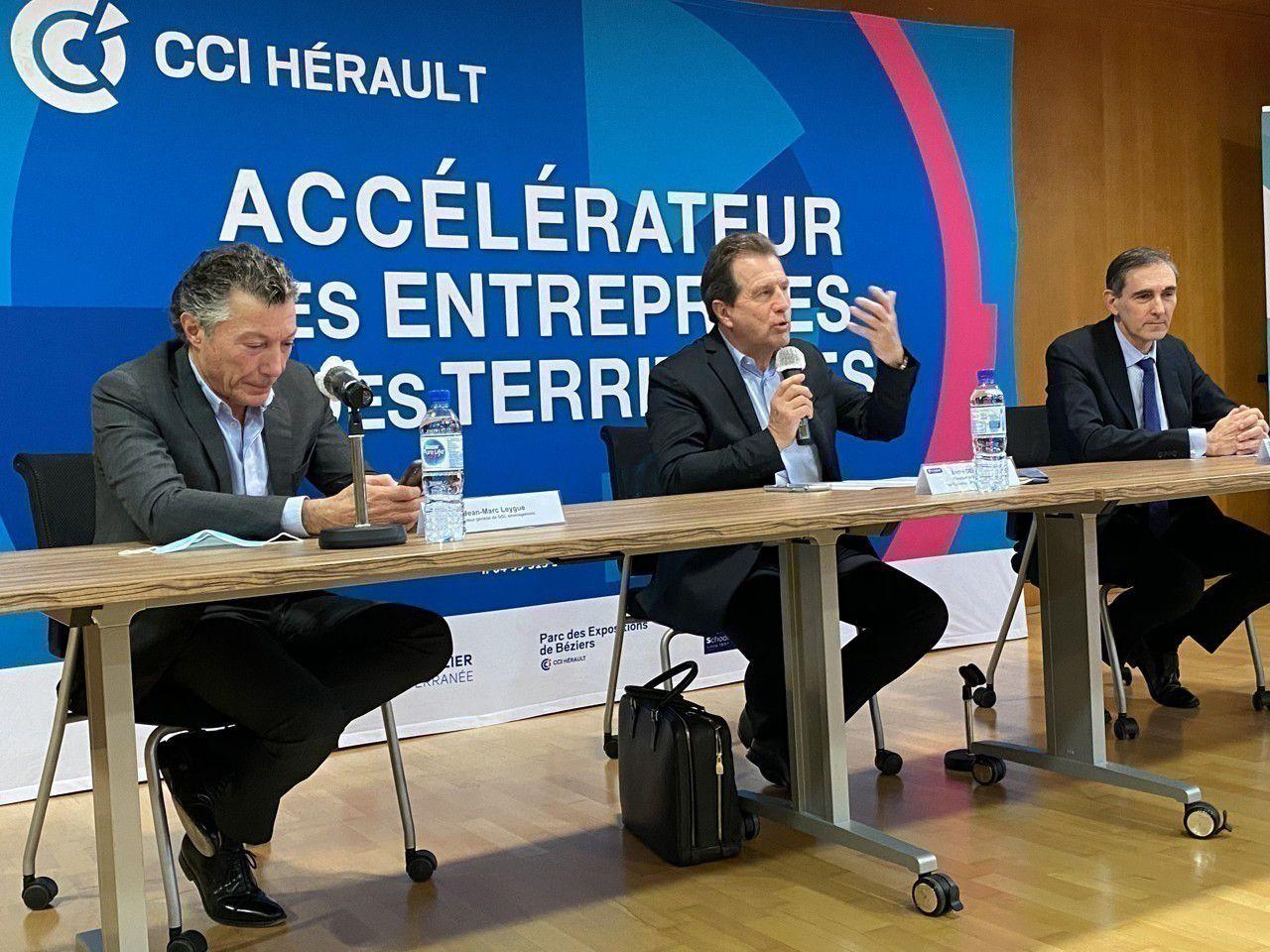 Le président de la CCI Hérault André Deljarry, entouré de Jean-Marc Leygue, PDG de GGL (à sa droite) et de Christian Rouchon, directeur général du Crédit Agricole Languedoc (à sa gauche). (©CCI Hérault)