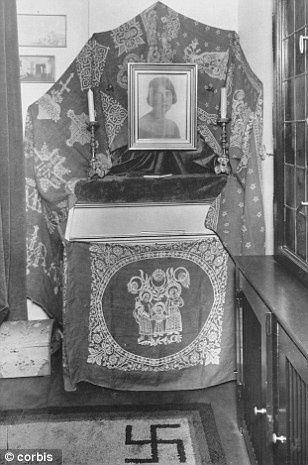 Hermann and Carin Goering pictured in the early 1920s (Ieft), and the shrine he built in her memory (right)