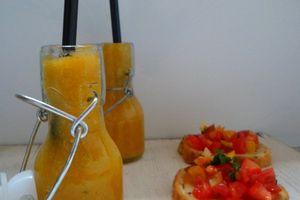 Gaspacho Jaune et Pan con tomates