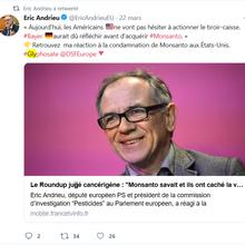 Glyphosate, tribunaux, Monsanto : quelle perspicacité, Éric Andrieu ! Oh là là, Brune Poirson !