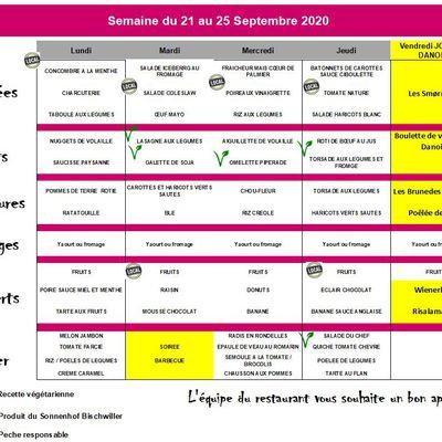 Les menus de la semaine du 21 au 25 septembre