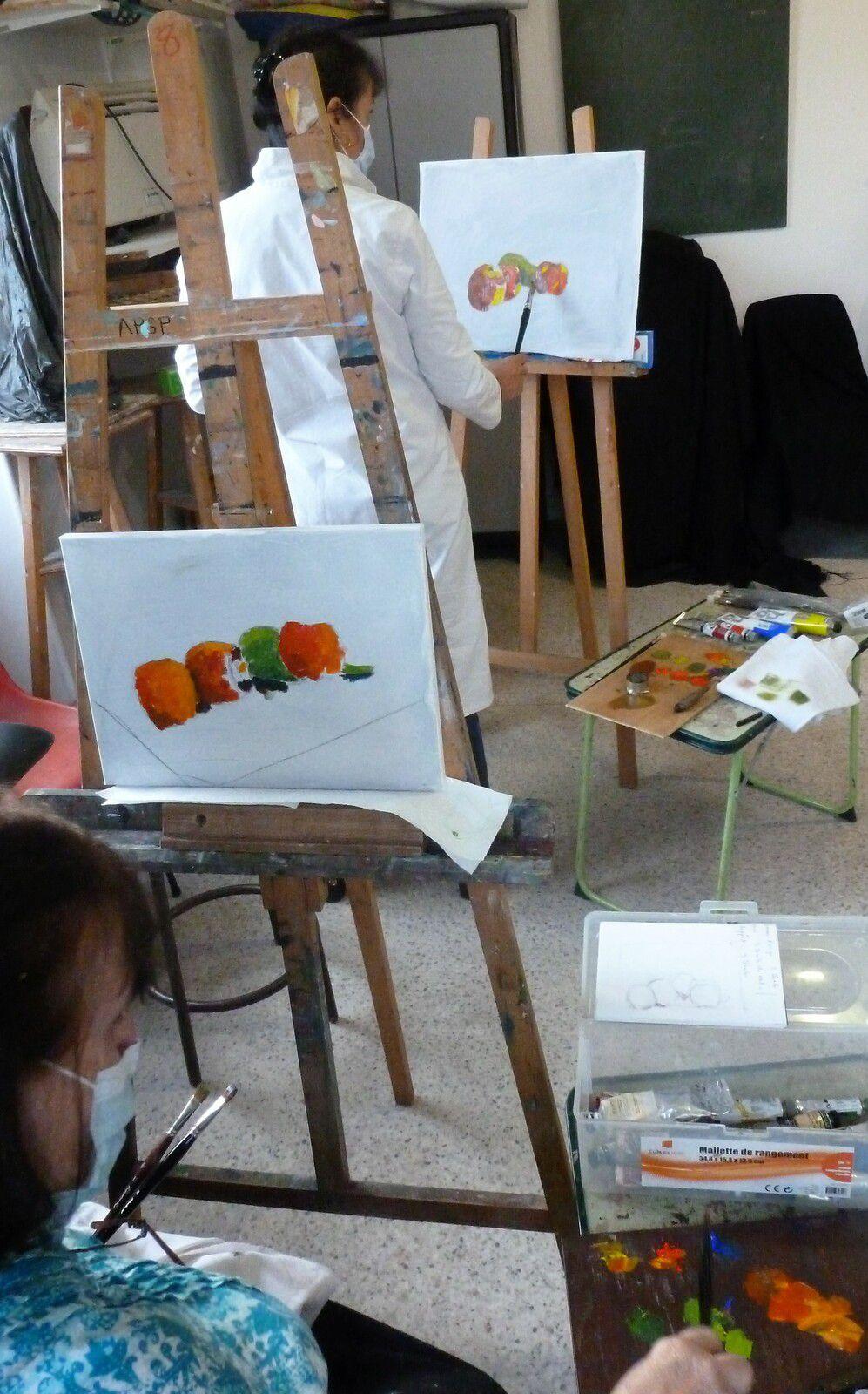 Débuts des séances de peinture à l'huile les 22 et 29 septembre