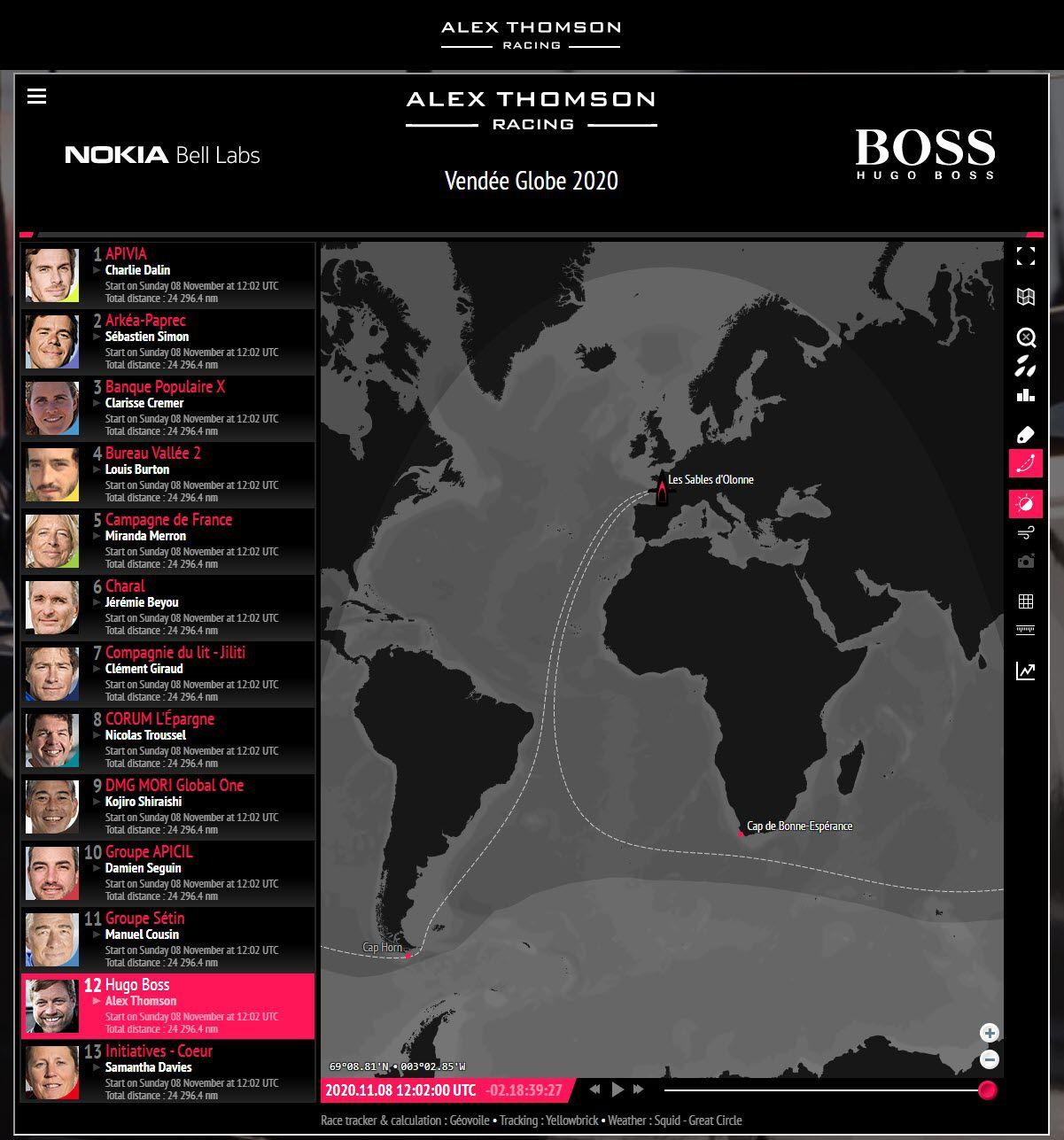 Alex Thomson The HUB : indicateurs sur la course et les concurrents