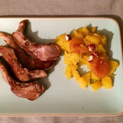 Aiguilettes de canard, butternut, miel de tasmanie, abricots et noisettes