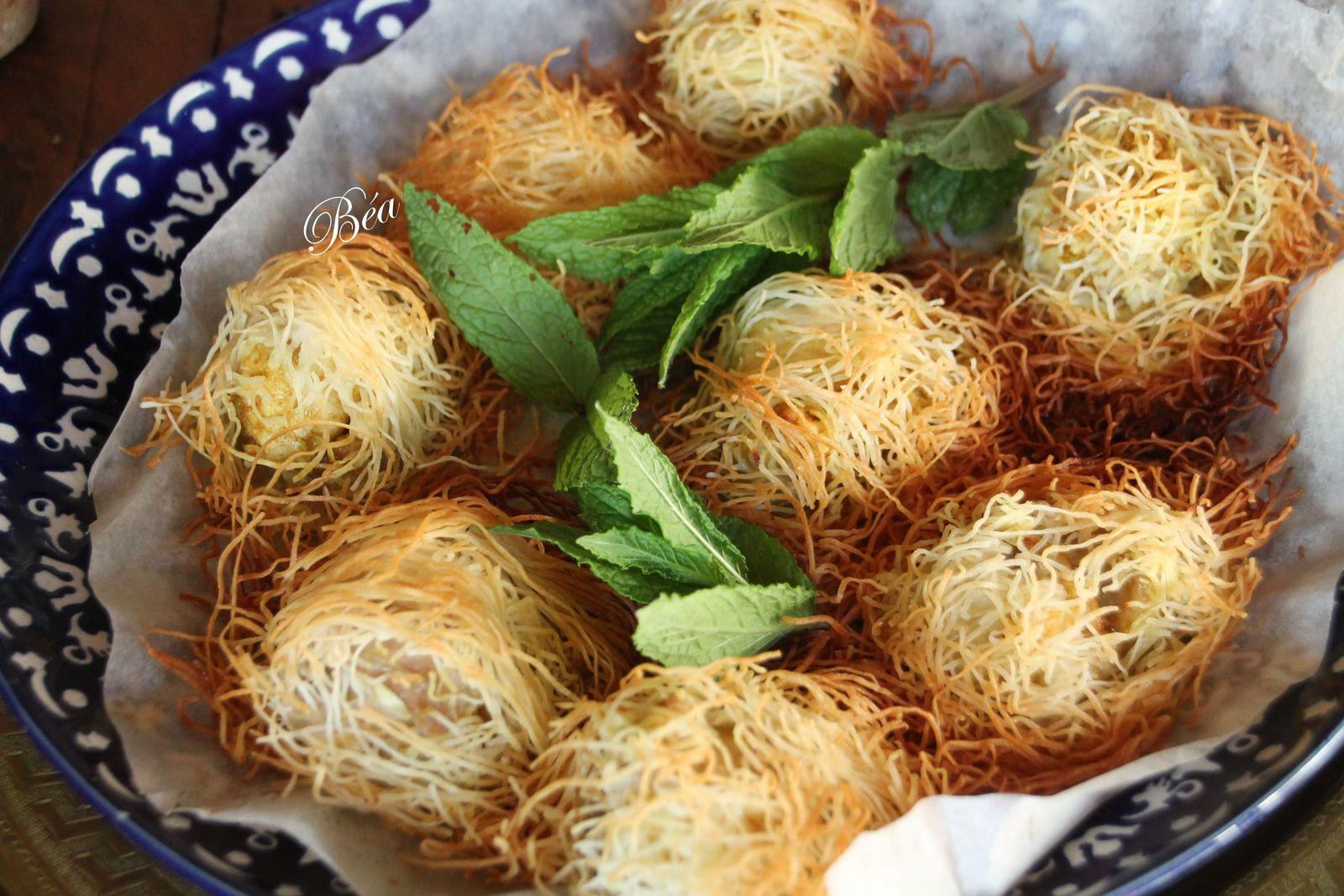 Bouchées de lapin épicé en kadaïf, ketchup à l'harissa