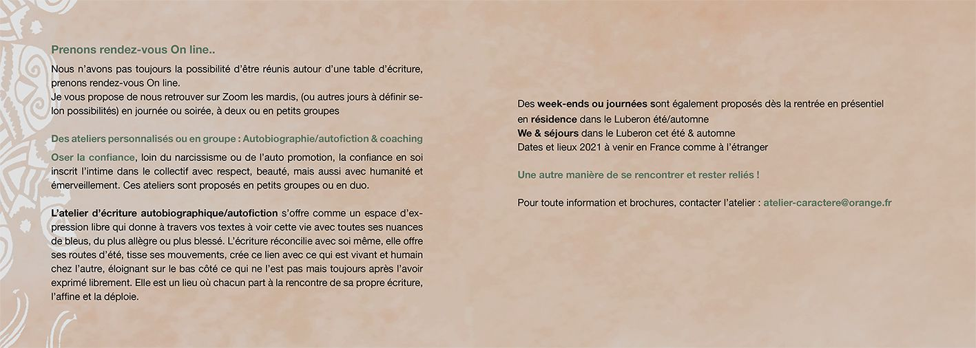 CYCLE ATELIER ECRITURE AUTOBIOGRAPHIE / AUTOFICTION