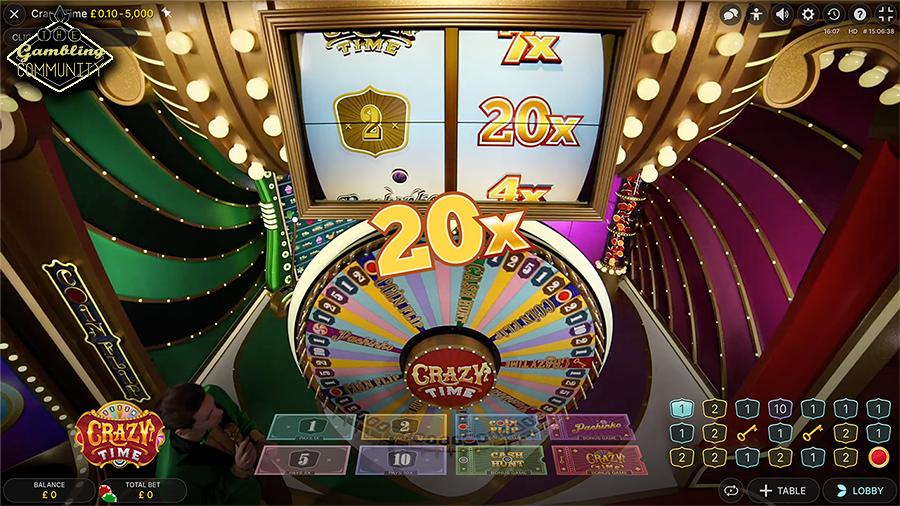 jeu de casino en ligne live Crazy Time roue de la fortune et multiplicateur