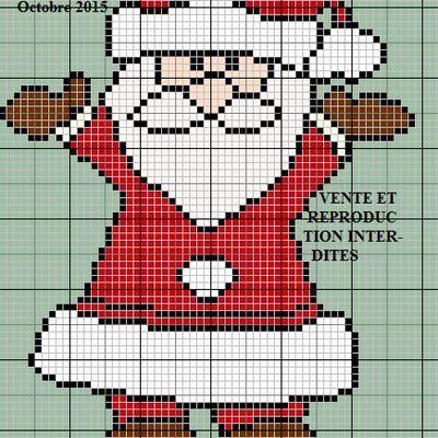 Grille gratuite point de croix : Père Noel mains en l'air