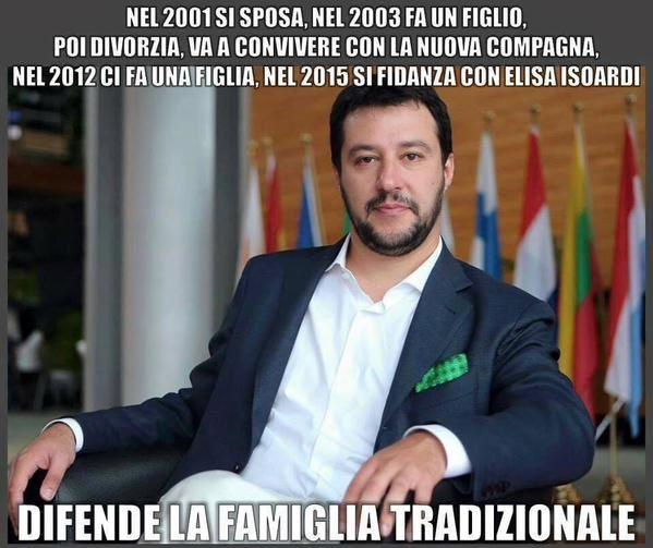 Ecco come Salvini difende la famiglia tradizionale