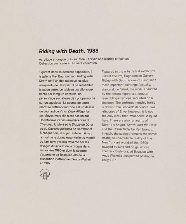 Riding with Death, 1988, Acrylique et crayon gras sur toile, Collection particulière