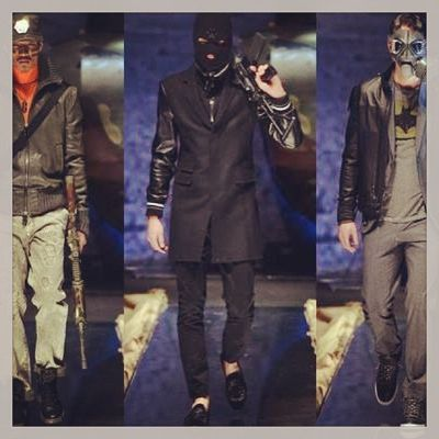 Madonna's dancer boyfriend launches fashion line.  Let's hope Zaibat took note of Philipp Plein's A/W '13 menswear show which literally bombed due to the gun-wielding models, with war-painted cheeks and capitalised red-inked slogans on their bare torsos.