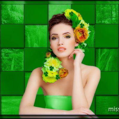 jolie femme fond vert