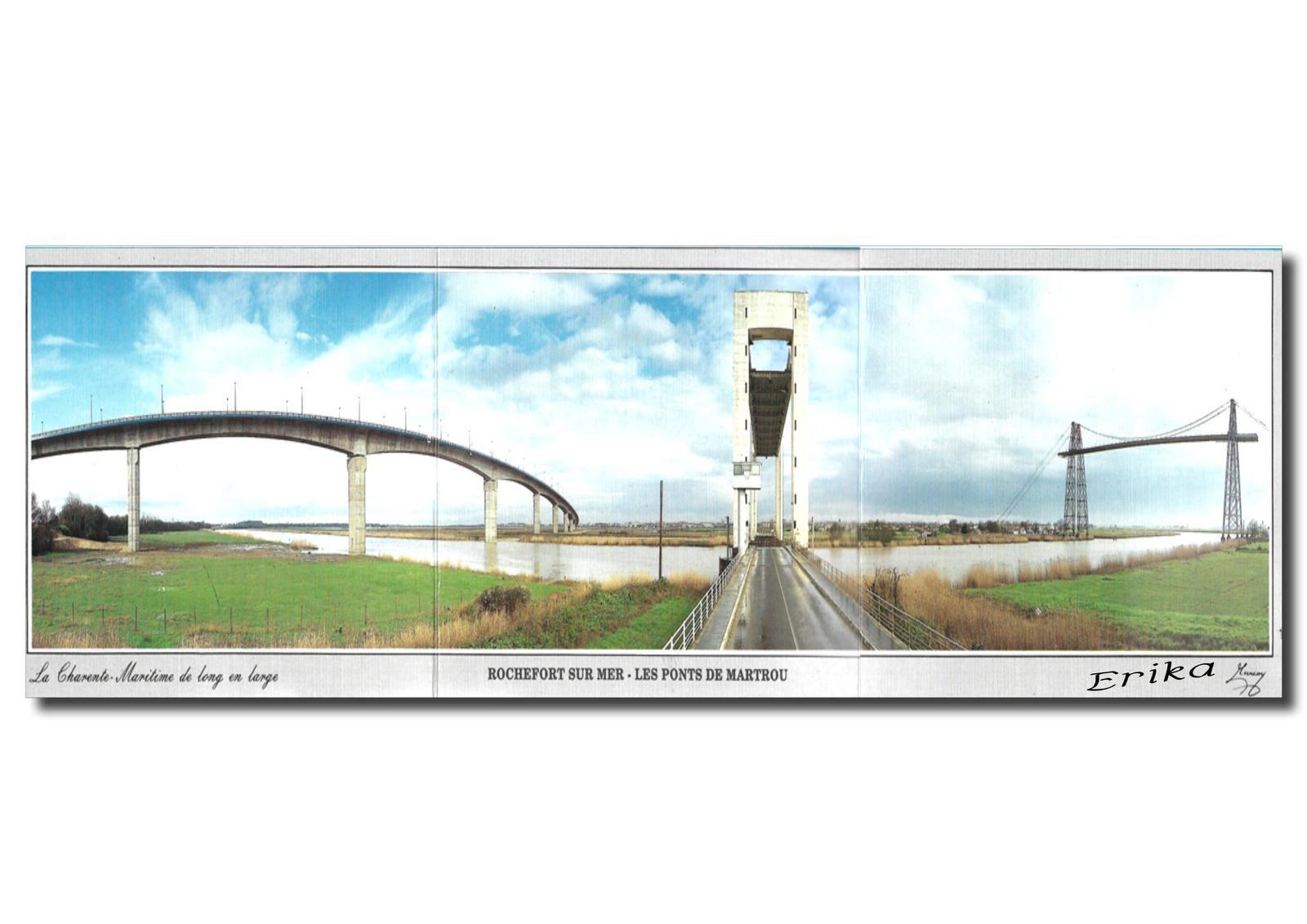 Cartes postales des trois ponts de Martrou avant destruction du pont à travée levante au centre...