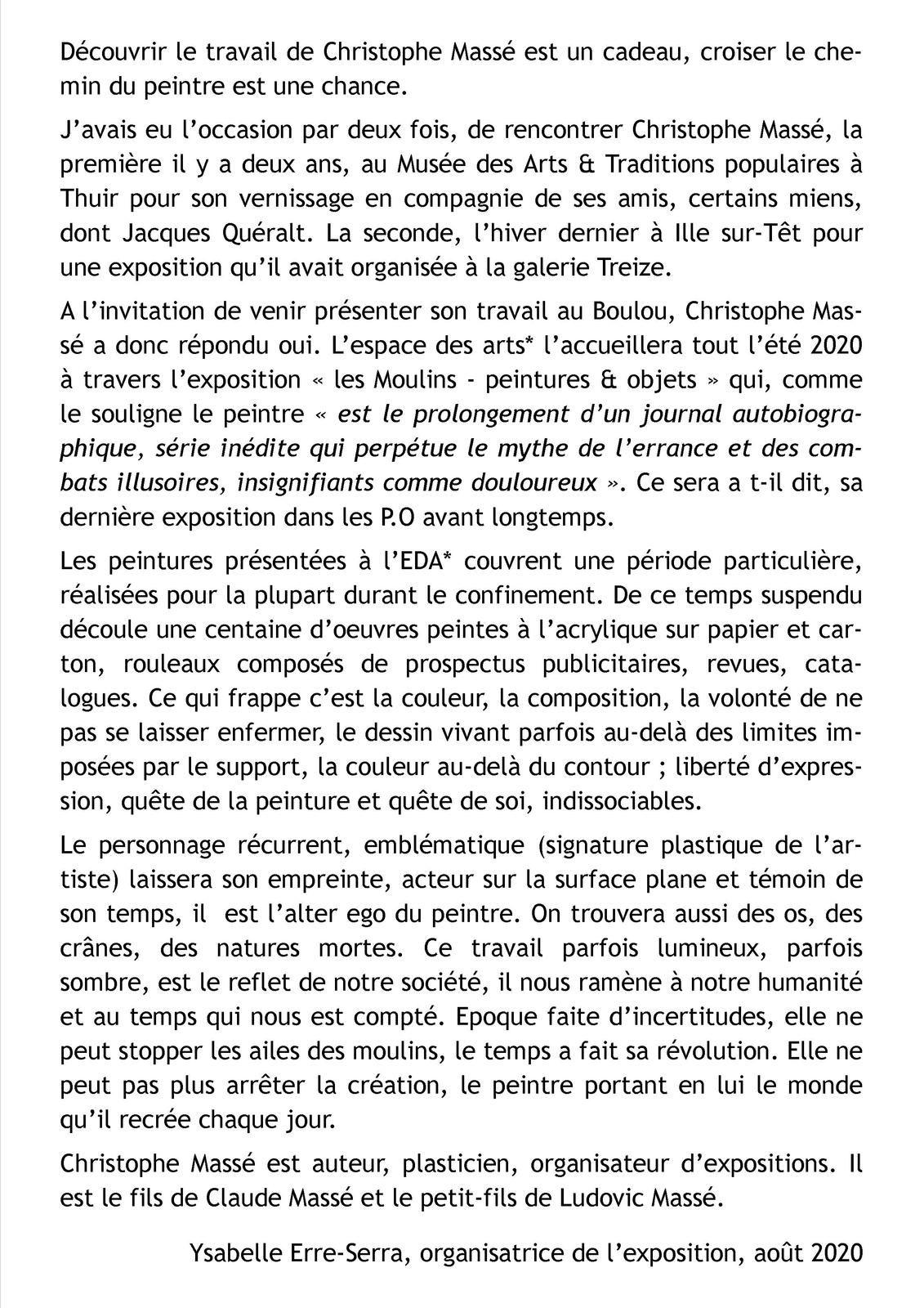 """""""Les Moulins–peintures & objets"""" de Christophe Massé à l'EDA"""