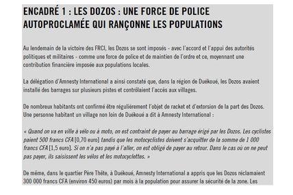 Amnesty International / C I - Les Dozos une milice qui rançonne - 26/02/13