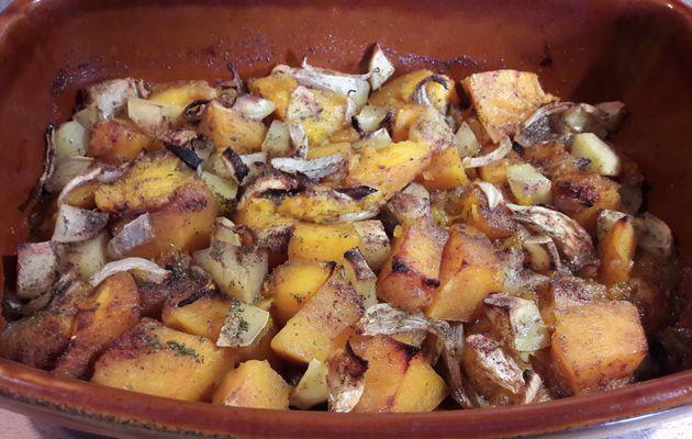 Potiron et pommes de terre au miel rotis au four