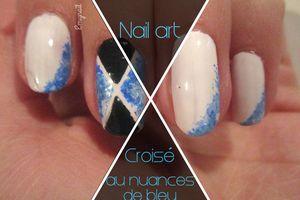 Nail art croisé au nuances de bleu