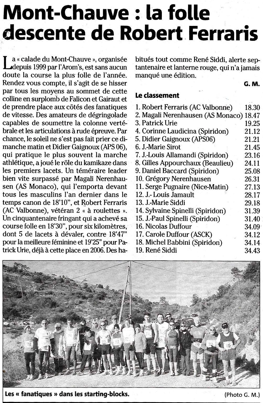 """NICE - FALICON. la """" Calade """" du Mont Chauve - 16.12.2007"""