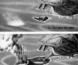 A gauche, Carte des dépôts du Capelinhos - doc. Bulletin of Volcanology - Capelinhos 1957–1958, Faial, Azores: deposits formed by an emergent surtseyan eruption – by P.D.Cole & al. - à droite, rétrospective en images - un clic pour agrandir.
