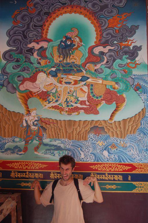 Dans l'ordre : temple bouthan, thailandais, tibétain, japonais, vietnamien, et la grande statue du Bouddha.