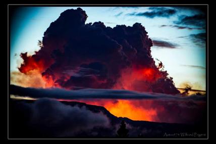 Le Mega pyrocumulus  de l'éruption du 19 février au 10 mars 2019 visible depuis l'étang salé