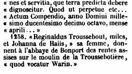 Captures d'écran des passages du tome III des Mémoires et notes d'Auguste Le Prévost (paru en 1869) se rapportant à Saint-Cyr-la-campagne.