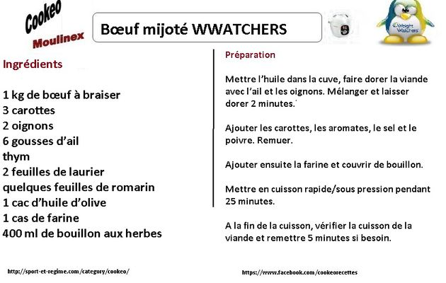 Recette cookeo boeuf mijoté weight watchers