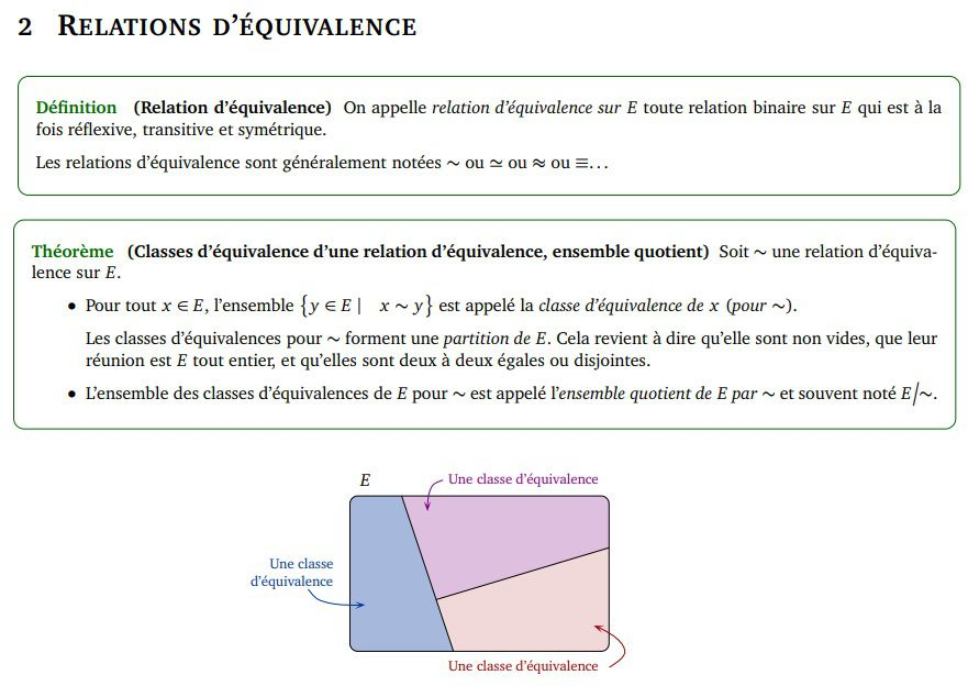 POST BAC - Relations d'équivalence / Classes d'équivalence / Ensemble Quotient