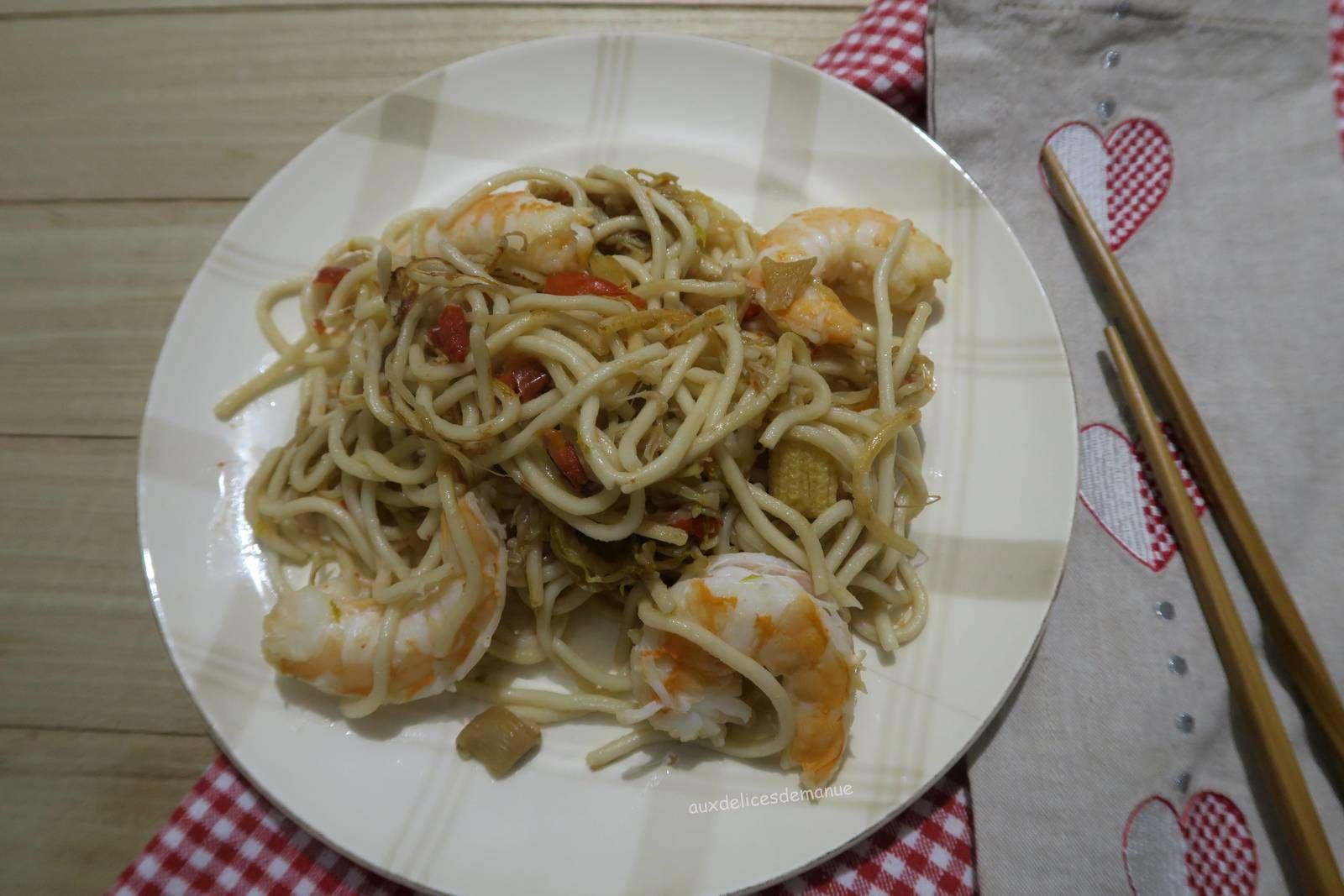 nouilles,crevettes,nouilles chinoises,yakitori
