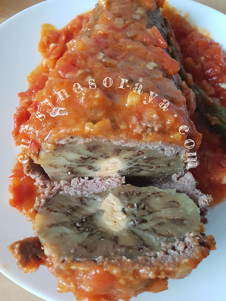 Aubergine roulée à la viande au fromage coulant et sa sauce