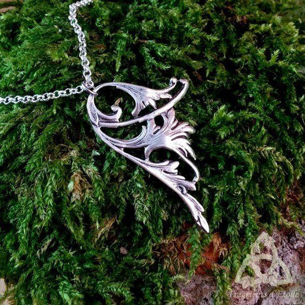 Collier elfique Aile de Fée argenté fines et délicates volutes et entrelacs d'inspiration celtique médiévale païenne victorienne